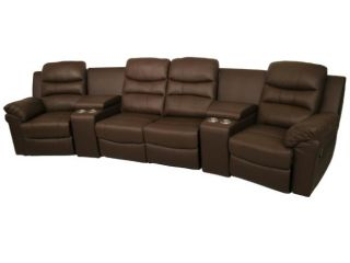 Seatcraft Genesis Home Theater Seating 4 Recliners 2 Wedges Brown Manual Chair