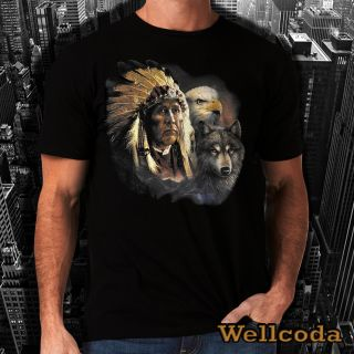 Indian American Eagle New Men Women Top T Shirt Vintage Native Retro Wolf H61