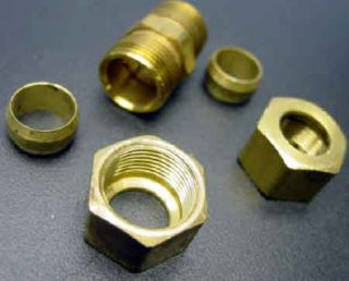 "Half inch Compression ½ "" Copper Tubing Brass Compression Fitting Complete"
