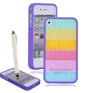 Rainbow Hard High Quality PC TPU Case for Apple iPhone 4 4S Purple Side Frame US