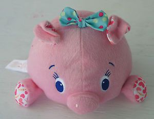 Kids 2 Bright Starts Vibrating Pig Toy Pink Blue Bow Soft Stuffed Plush 8""