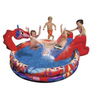 Banzai Slide N Spray Dragon Pool Inflatable Water Sprinkler Toy Large New