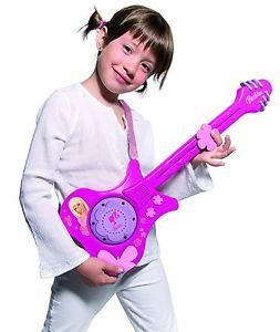 Girls Kids Barbie Electronic Music Rock Pop Pink Toy Guitar Brand New