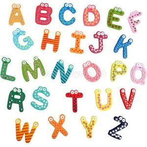 Baby Kids Wooden Toy Teaching Alphabet Fridge Magnetic Magnet Set 26 Letters A Z
