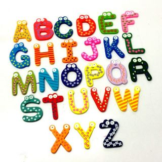 A Z 26 Letters Alphabet Wood Fridge Magnet Carton Kid Education Toy Memo A1513