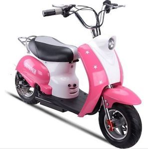 Mototec 24V Moped Electric Scooter Pink Battery Powered Kids Ride on Toy New