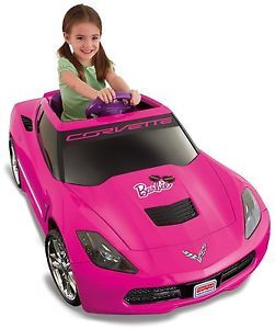Girls Pink Ride on Barbie Corvette 12 Volt 12V Car Electric Toy Motorized Kids