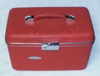 Vintage Forecast Red Train Case Makeup Cosmetic Hard Side Suitcase Bag Luggage