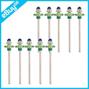 10 x Kids Wooden Pencil Football Player Topper Boys Girls Party Bag Filler Toy