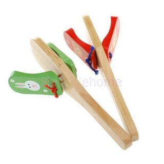 Random One Kids Musical Percussion Instrument Wooden Castanet Clapper Handle Toy