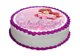 "N800 Edible Icing Image Birthday 8"" Round Cake Topper Princess Ariel Mermaid"