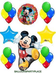 Mickey Mouse Balloons Mylar Bouquet Happy Birthday Party Supplies Latex Decorate