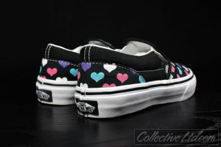 Vans Kid's Youth Slip on Multi Color Hearts Black 13