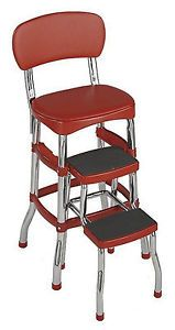 Vintage Kitchen Chair Retro Step Metal Stool Red Cosco Counter Country Old New