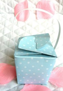 8ct PK Baby Blue Baby Shower Party Favor Boxes Wedding Basket with White Handle