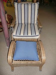 Hampton Bay Indoor Outdoor Wicker Chair w Ottoman Furniture w New Cushions