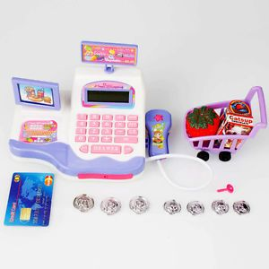 Kids Pretend Toy Groceries Cash Register Sounds Lights Scanner Money Purple
