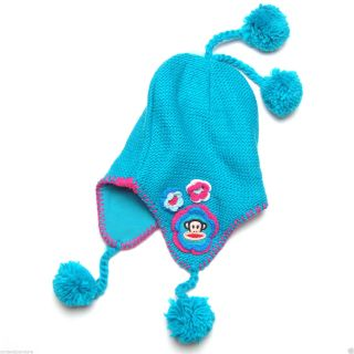 Paul Frank Julius Monkey Puruvian Knitted Flower Beanie Hat Pom for Girls Kids