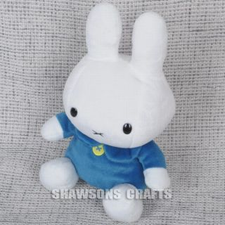 "Miffy Bunny 12"" Plush Stuffed Soft Rabbit Toy in Blue"