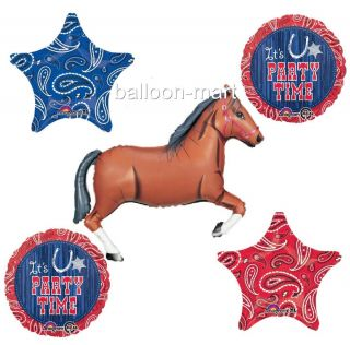 Western Party 5 Balloons Set Decorations Bandana Cowboy Birthday Rodeo Horse
