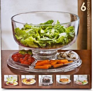 Clearmax 6 in 1 All Purpose Party Cake Stand Plate and Cover or Salad Bowl