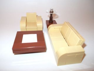 Lego Furniture 4 Piece Seating Set Tan w Couch Chair Tables Lot Town