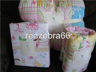 Pottery Barn Kids Girl Pink Key West Twin Quilt Euro Sham Mermaid Sheet Set 5 PC