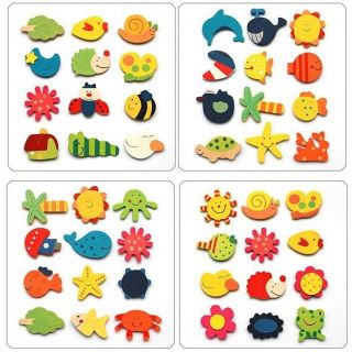 48 x Wooden Animal Fridge Magnets Baby Toy Kids Children Party Wood Gift