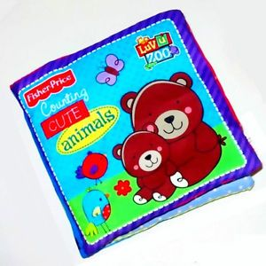 1× Infant Baby Kids Fisher Price Crinkle Cloth Counting Learning Soft Book Toy
