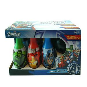 Bowling Gift Set 6 Pins 1 Ball Kids Boys Toy Marvel Avengers Iron Man Hulk 2