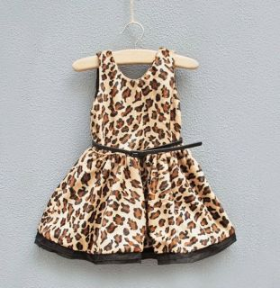 1pc Baby Girl Kids Toddlers Velvet Leopard Belt Dress Clothes Outfit Sundress