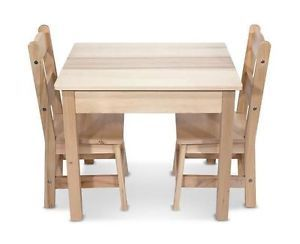 Melissa Doug Wooden Table and 2 Chairs Set