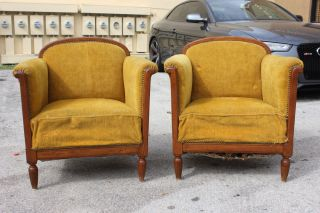 Pair French Art Deco Walnut Club Chairs Circa 1940'S