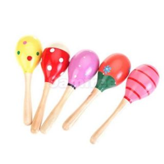Kid Baby Child Maraca Rattle Shaker Musical Toy Wooden Percussion Favor Gift New