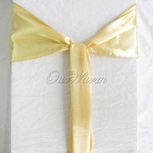 100 Champagne Light Gold Satin Chair Sash Bow Wedding Party Decoration Color New