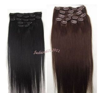 "15"" 7pcs Clip in Remy Real Human Hair Straight Extension Black Dark Brown 70g"
