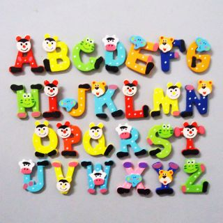 26pcs Cartoon Kids Wooden Alphabet Fridge Magnet Child Educational Toy
