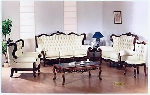 5 Piece High Quality Wood with Italian Leather Sofa Love Seat Chair Table Etc
