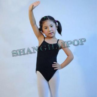 New Girls Gymnastics Leotard Kids Ballet Dance Camisole Cottonlycra Black Pink