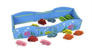 Children Magnetic Fishing Pond Game Wooden Educational Toy 2 Fishing Rod 12 Fish
