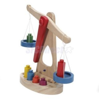 Children Intelligence Educational Balance Scale w Wooden Weights Great Toys New