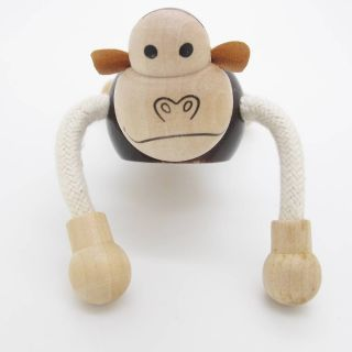 3D Portable Wooden  Animals Wood Figures Baby Kids Toys Monkey