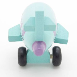 New Blue Hand Made Wooden Wood Mini Airplane Baby Kids Toys