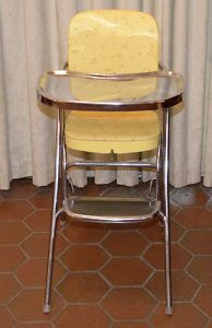 Vintage 1950's 1960's Ames Maid Folding High Chair Yellow Model 6F2 NF with Box