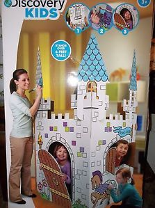 New Discovery Kids Cardboard Color Me Play Castle Princess Eco Toy House