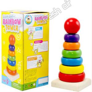7pcs Wooden Stacking Stack Up Nesting Rainbow Tower Ring Learning Toy Kids Baby