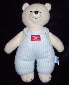OshKosh Kids Gifts Fleece Bear Blue Stripe Overalls Soft Stuffed Plush Baby Toy