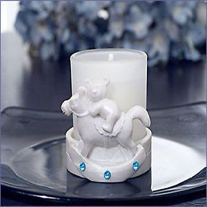 Blue Teddy on Rocking Horse Candle Baby Shower Favor