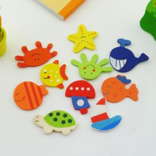 12pcs Mixed Wood Cartoon Fridge Magnets Kids Education Toy Home Ornaments A3