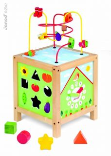 Janod Juratoys Wooden Baby Busy Activity Box Abacus Maze Preschool Kids Play Set